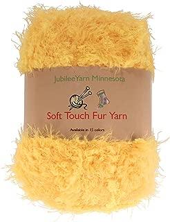 JubileeYarn 100g Soft Touch Fuzzy Fur Yarn, Yellow 2 Skeins
