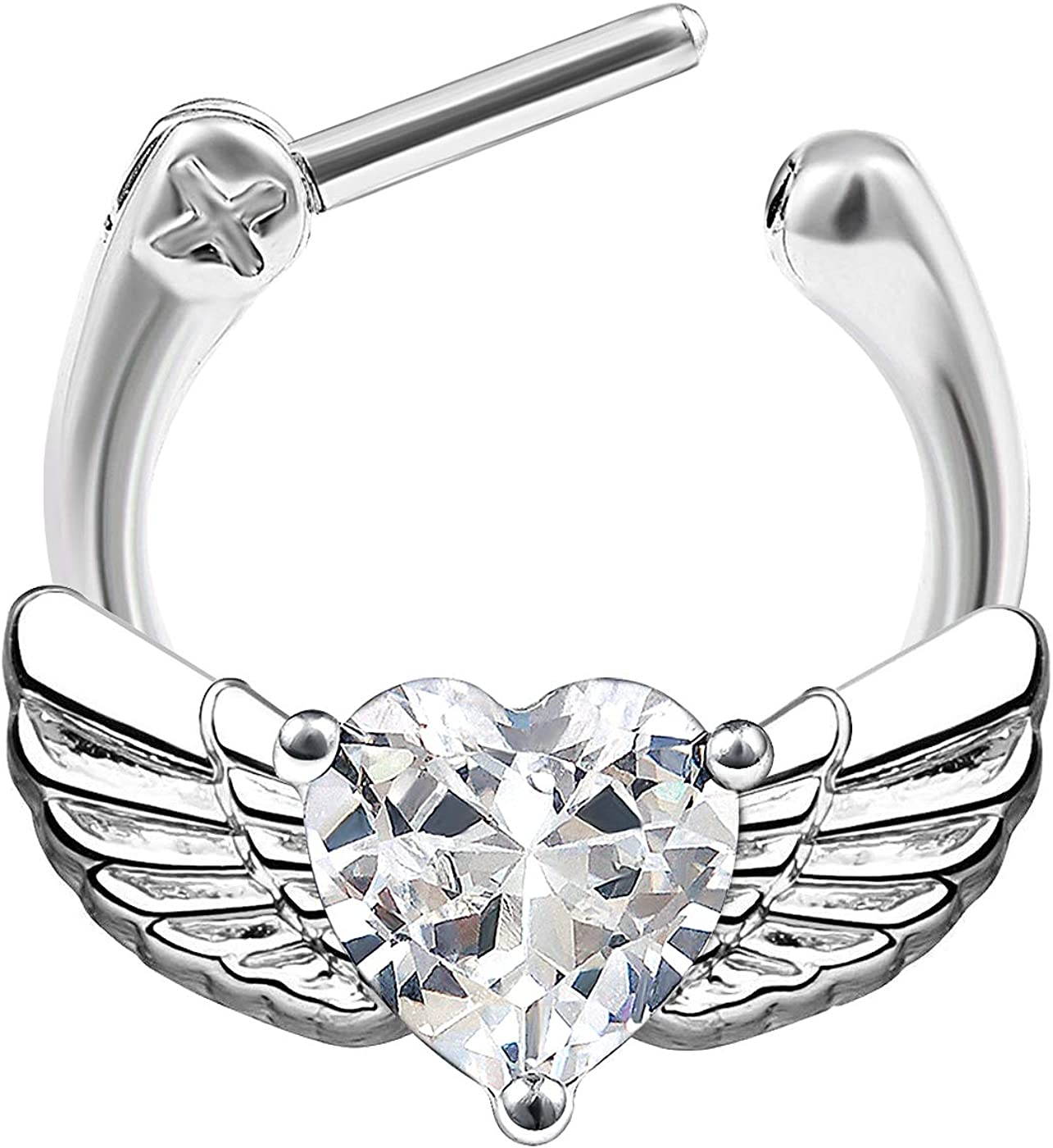 MATIGA Surgical Steel 16 Gauge Septum clicker Piercing Jewelry Earring Eyebrow Cartilage Nose Tragus Labret Lip Crystal More Choices