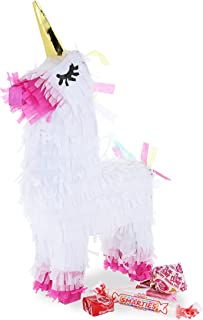 Juvale Mini Unicorn Party Pinata Kit with Multicolored Confetti Circles, 5 x 10 Inches