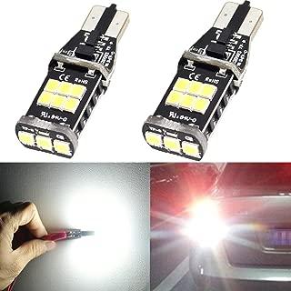 Alla Lighting CANBUS Error Free 921 912 906 T15 Super Bright 800 Lumens 6000K Xenon White High Power 2835 15-SMD LED Lights Bulbs for Back Up Reverse Light