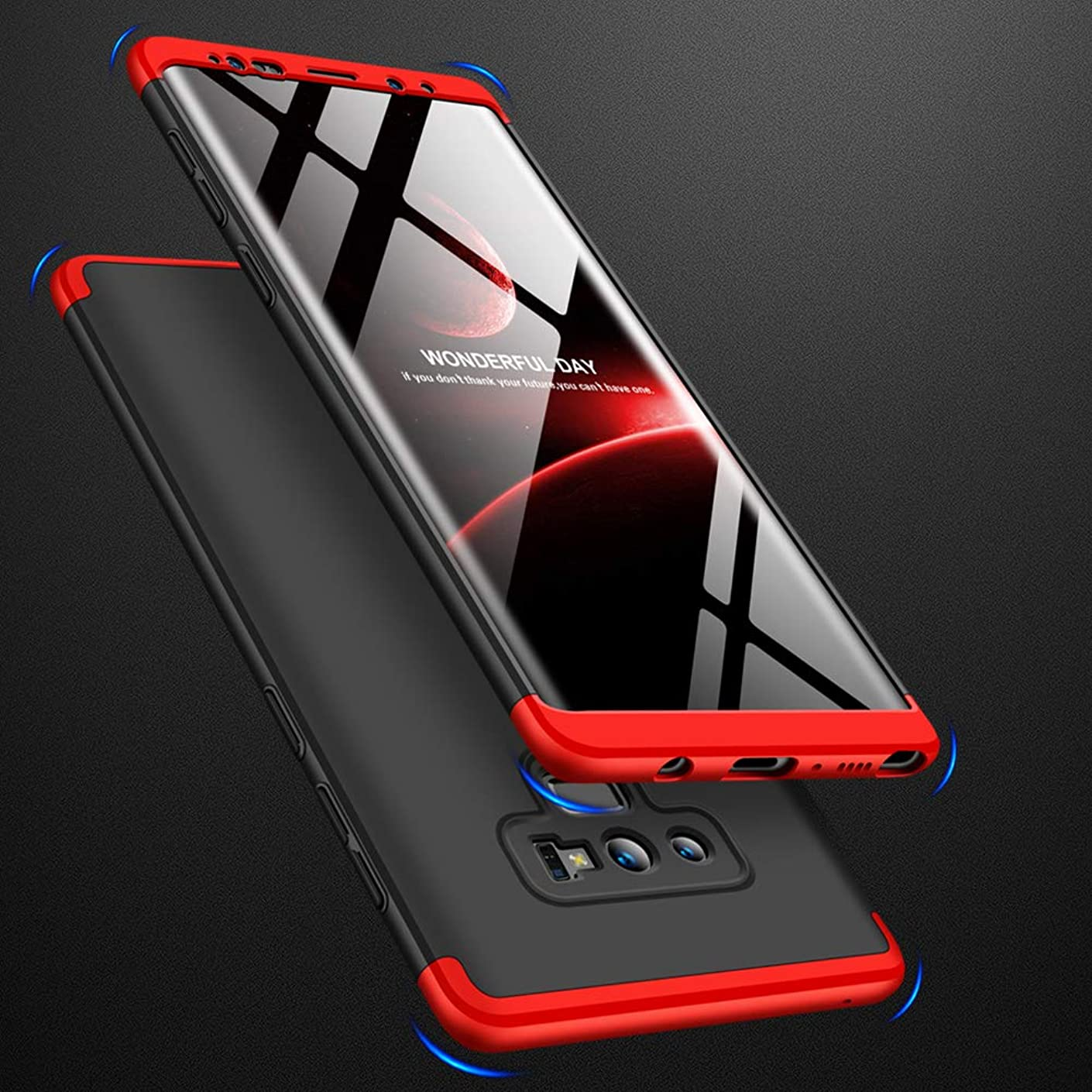 Samsung Galaxy Note 9 Case, Slim Scratch Resistant Shockproof PC Hard Case for Galaxy Note 9 - Black+Red