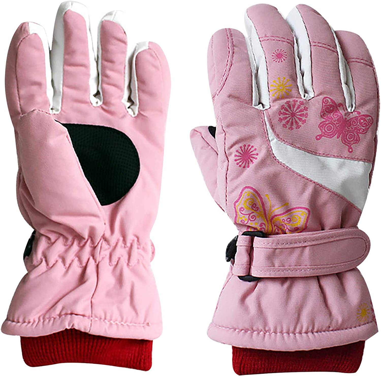 Leirke Kids Thickened Cartoon Butterfly Printed Gloves Waterproof Winter Snow Ski Skating Easy-On Wrap Winter Outdoor Mittens