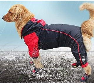 VICTORIE Mascota Perro Impermeables Chubasqueros con Capucha para Medianas y Grandes Perros Andar excursión Acampada Educazione Negro+Rojo 5XL