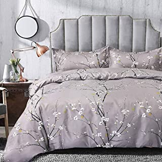 TIFFICO Duvet Cover Set Queen Size - 3 PCs Gray Grey Plum Bloom Pattern Floral Leaf Flower Microfiber Soft Bedding Comforter Covers with Zip Ties - Winter Farmhouse Bed Sets for Women, 90 x 90 inch