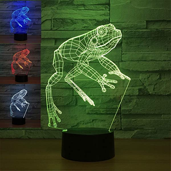 3D Frog Night Light Animal Lamp Table Desk Optical Illusion Lamps 7 Color Changing Lights LED Table Lamp Xmas Home Love Brithday Children Kids Decor Toy Gift