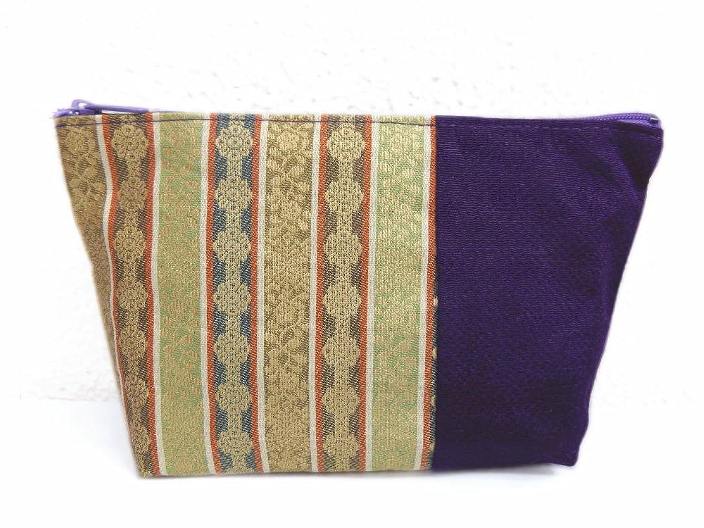 ホールドオールバット費やす金襴和柄広口型ファスナーポーチ(お化粧?コスメ?小物入れ)濃紫色地