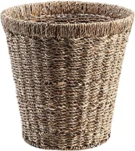 ZXHDND Straw Round Storage Bin Green Household Trash Can Flower Pot Set, Handmade, Two Colors (Color : B)