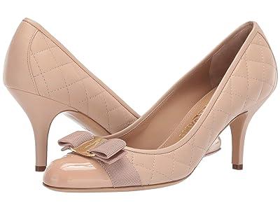 Salvatore Ferragamo Carla Quilted Pump (New Bisque Patent) High Heels