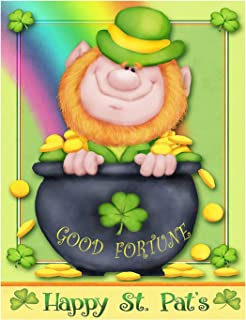 Happy St Patrick's Day Irish Leprechaun Good Fortune Double Sided House Flag Garden Banner 28