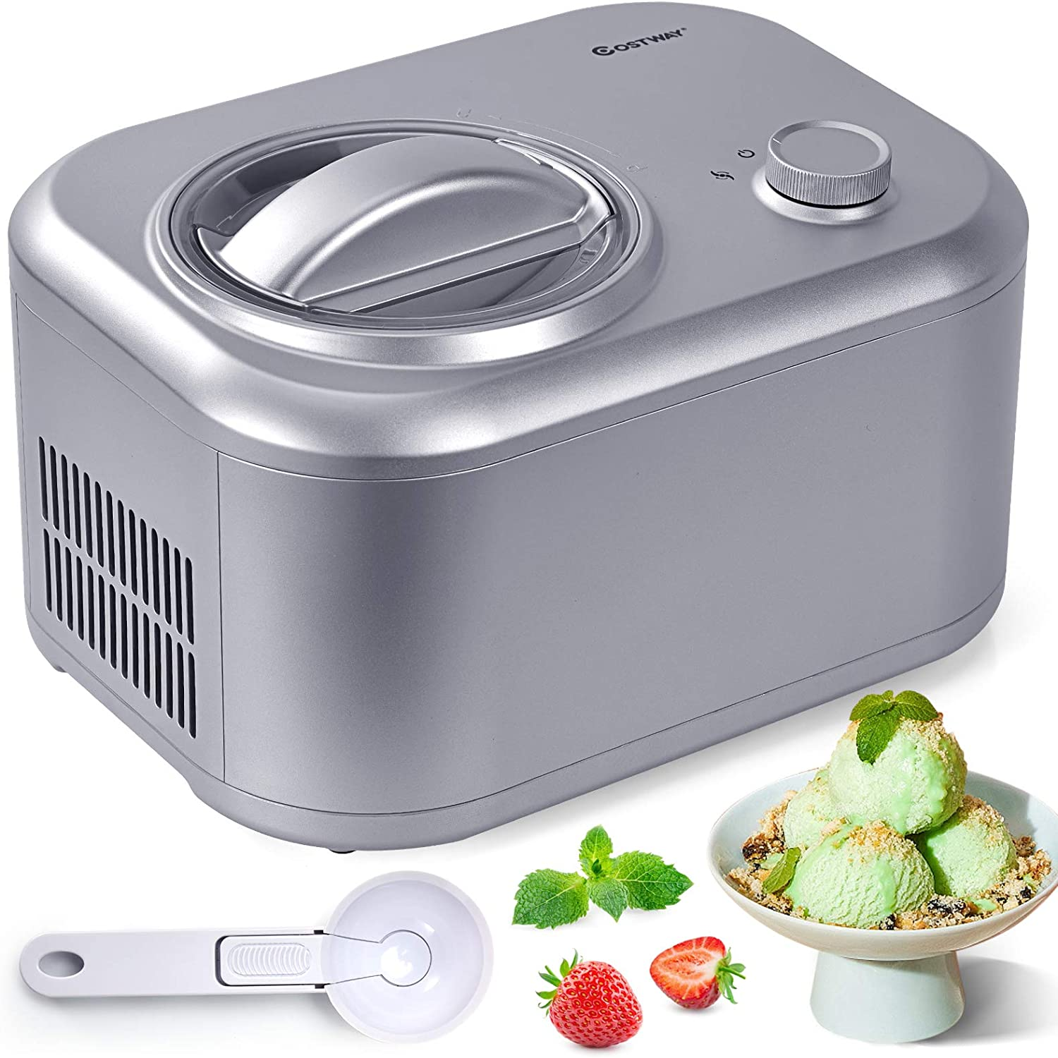 ARLIME Automatic Ice Challenge the lowest price of Japan ☆ Cream Maker Compression 1.1-Q Cooling with Max 40% OFF