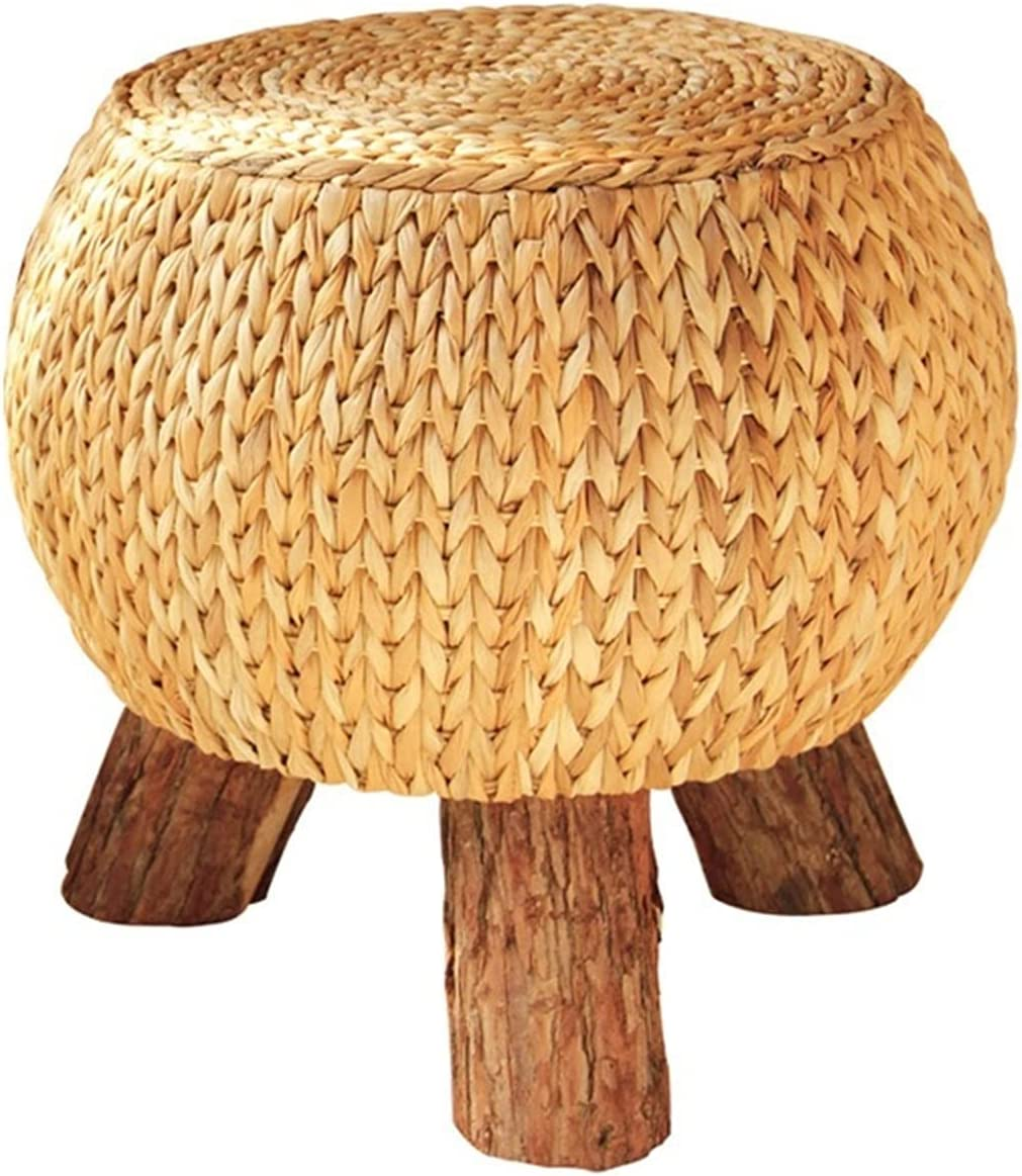 DALIZHAI777 Ottoman Footstool Rattan Handmade Round Rustic Foots Regular store Complete Free Shipping