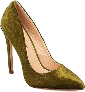 Women Velvet Pointy Toe Single Sole Stiletto Pump FB60 - Olive (Size: 7.5)