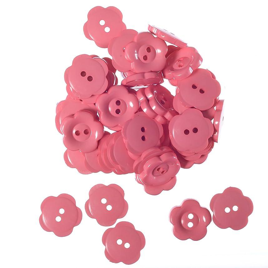 Nylon Daisy Shape Buttons - 2 Hole - Pink