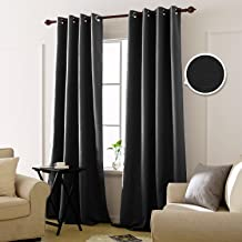 Deconovo Cortinas Opacas con Aislamiento Térmico para Dormitorio y Salón 2 Paneles 140 x 260 cm Negro