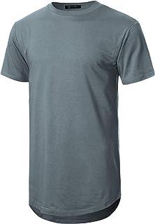 GIVON Mens Lightweight Hipster Hip Hop Elong Round Hemline Tri-Blend Rayon Modal Cotton Crewneck T-Shirt