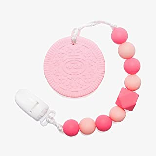 Teething Toys BPA Free Silicone for Toddlers Baby,Unique Pink Highly Effective Pain Relief Cookie Teethers with Pacifier Clip for Stylish Boy Girls