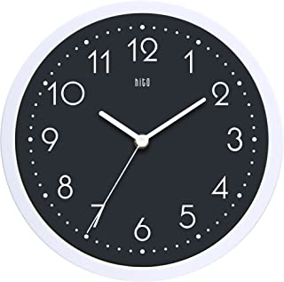 hito Silent Wall Clock Non Ticking 10 inch Excellent Accurate Sweep Movement Glass Cover, Decorative for Kitchen, Living Room, Bathroom, Bedroom, Office (Gray#3)