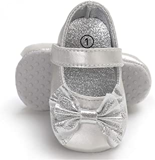 Baby Girls Mary Jane Flats with Bowknot Non-Slip Toddler First Walkers Princess Dress Shoes