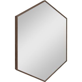 Kate and Laurel Rhodes Mid-Century Modern Hexagon Wall Mirror, Walnut Brown, 31x22-Inches