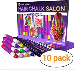 Desire Deluxe Hair Chalk for Girls Makeup Kit of 10 Temporary Colour Pens Gifts, Great..