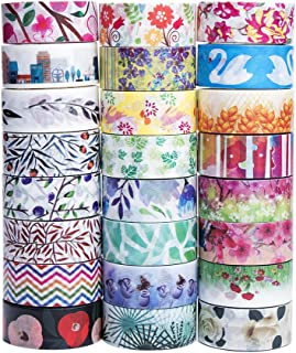 Cute Washi Tape Set - The Theme of Nature, 24 Different Designs About Floral Japanese Pastel , Decorative Masking Tape For Arts and DIY Crafts, Bullet Journal