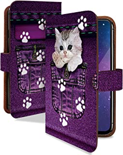 T-01A ケース 手帳型 ネコ キジトラ ジーパン デニム スマホケース ティー01A 手帳 カバー t01a t01aケース t01aカバー ねこ ネコ 猫 キャット 猫柄 ねこがら [ネコ キジトラ/t0249]