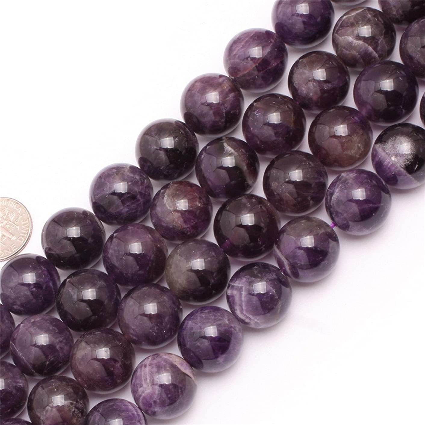 JOE FOREMAN 16mm Dream Lace Amethyst Semi Precious Gemstone Round Loose Beads for Jewelry Making DIY Handmade Craft Supplies 15