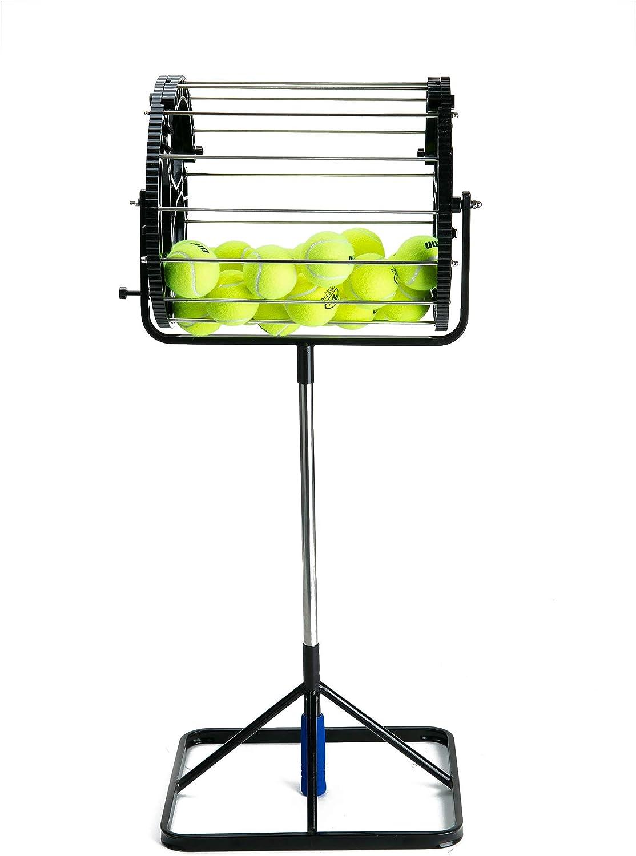 Mind Reader Hopper Collector Black Tennis Ball Stand//Roller Portable Durable Holder