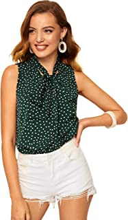 Women's Solid Bow Tie Neck Sleeveless Casual Work Blouse Shirts Tops