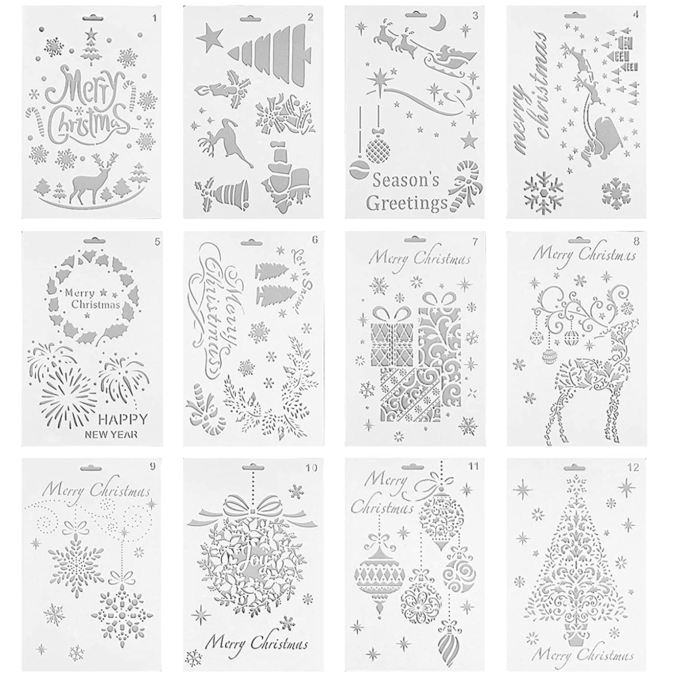 Lystin 12Pcs Christmas Painting Stencils, Plastic Stencil Bullet Journal Stencil Template Christmas Themes Santa Claus Christmas Tree Snowflakes Reindeers for Card DIY Drawing Craft Project 7