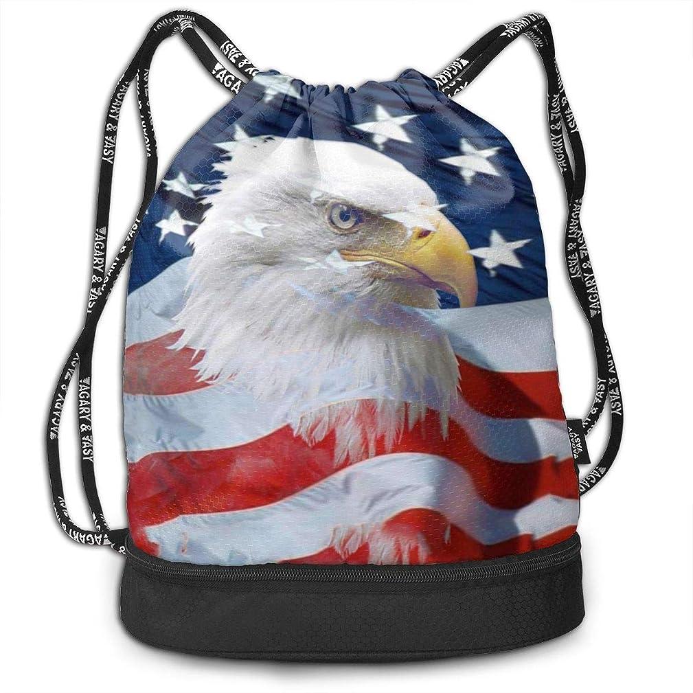 SHANNON B Cool Eagles American Storage Bundle Drawstring Backpack Travel Bag Beam Sackpack Shoulder Daypack for Running