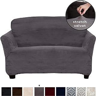 Great Bay Home Velvet Plush Stretch Loveseat Slipcover. Velvet Loveseat Furniture Protector, Soft Anti-Slip, High Stretch (Loveseat- 2 Seater, Wild Dove Grey)