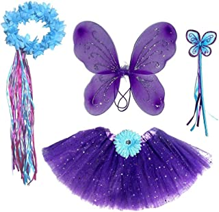 Enchantly Girls Dark Purple & Teal Fairy Set - Wings, Fairy Wand and Satin Ribbon Halo