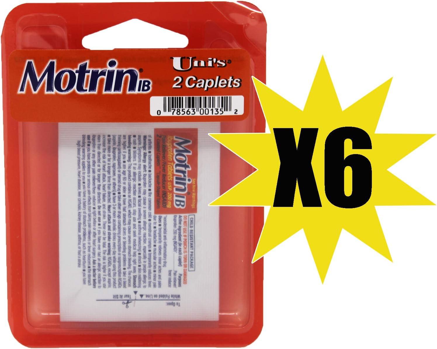 Uni's MotrinIB 6 Count Travel Packs (2 Caplets Per Pack) TSA App