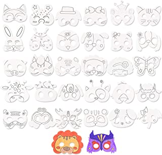 DIY Graffiti Masks for Kids, 32 Designs Blank Painting Animal Masks Paper Face Cartoon Masks Dressing Masks for Party/Cosplay/Kids Hand Painting Crafts Birthday Favors Circus