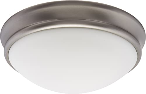 """new arrival Atom wholesale - 1-Light 11"""" Flush Mount - Brushed Steel Finish - Opal Glass discount Shade outlet online sale"""