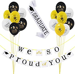 2019 Graduation Party Decorations Kit– Pack of 17 |We Are So Proud of You Banner Decoration Set - No DIY Required| Black and Gold Graduation Latex Balloons|White Graduate Sash| Great for Grad/ Graduation Party Supplies 2019