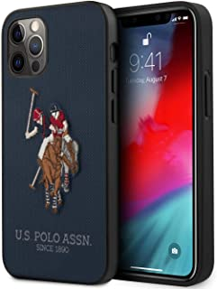 U.S. Polo Assn. Phone Case for iPhone 12 and iPhone 12 Pro Hard Case PU Leather with Embroidery Double Horse Logo Navy