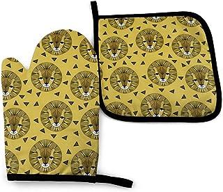 Lion Face - Mostaza por Andrea Lauren Mitones y Soportes para ollas de Cocina, Guantes de Cocina Resistentes al Calor