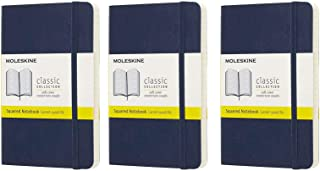 Pack of 3 Moleskine Pocket Journals, Squared, Blue Sapphire, Soft Cover (3.5 x 5.5)