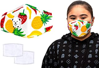 Reusable Cotton Kids Dust Mask/Face Mask, Reusable Kids Colourful Face Masks, Comes With Replaceable Filters and Respirato...