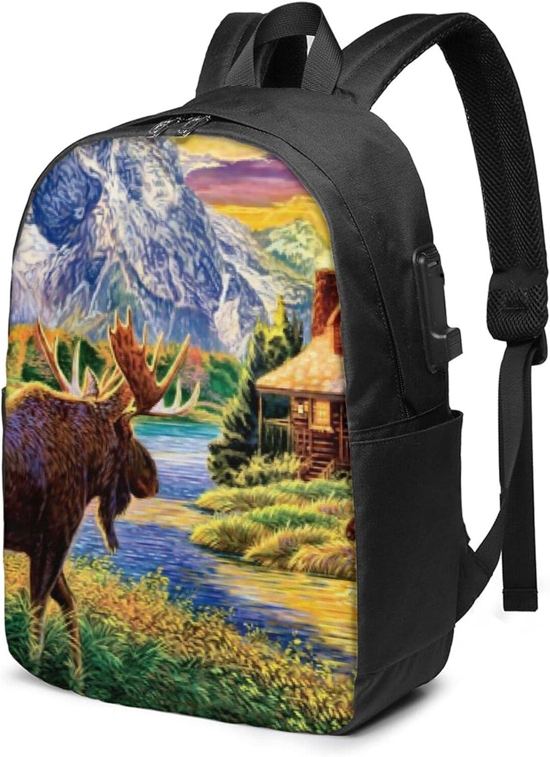 Free Selling rankings Moose Max 43% OFF Travel Laptop Backpack College Waterproof Purse Schoo