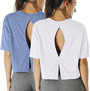 icyzone Open Back Workout Top Shirts - Yoga t-Shirts Activewear Exercise Crop Tops for Women(Pack of 2)