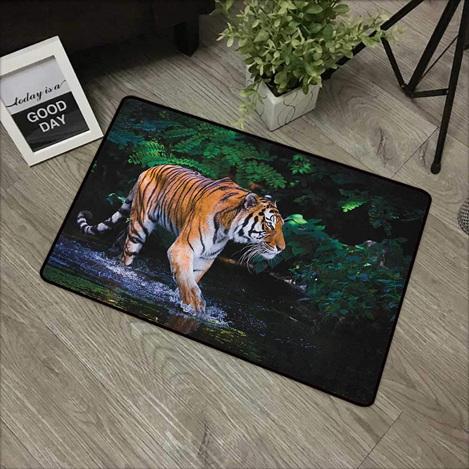 Interior Door mat W35 x L59 INCH Safari,Tiger in Water Stream Hunting Danger Trees Tropical Pond Hiding Captive, Green orange Brown Easy to Clean, no Deformation, no Fading Non-Slip Door Mat Carpet