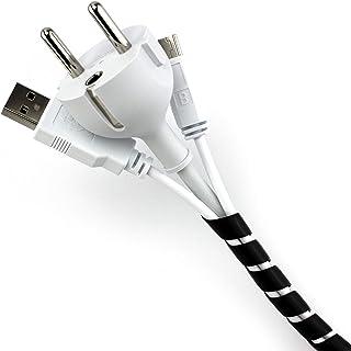 Purovi® Organizador de Cables en Espiral | Longitud 10 m | Tubo Protector Flexible | Diámetro 6-60 mm | Negro