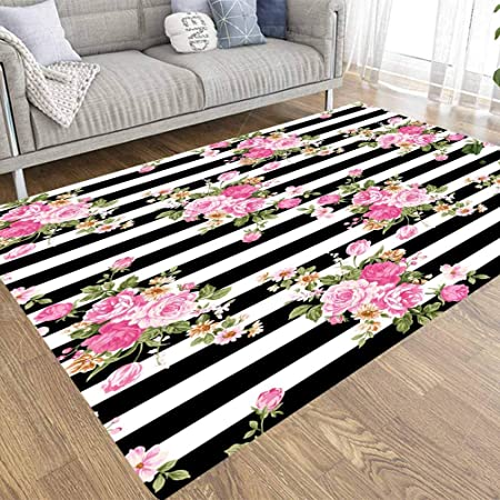 Pamime Soft Area Rug Modern Area Rug Abstract Tropical Plants Flowers Floral Pattern Pink Style Striped Black White Background 5x7 Art Area Rug For Living Room Bathroom Area Rug Kitchen