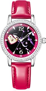 Time100 Constellation Luminous Crystal Accented Leather Strap Skeleton Mechanical Women's Watch Amazon Warehouse Deals #W80050L
