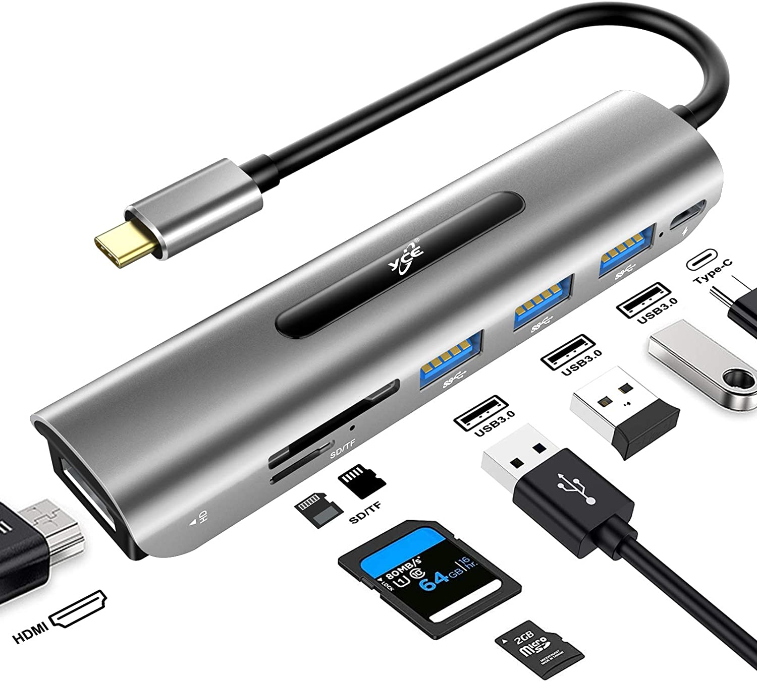 USB C Hub, 7 in 1 USB C to 4K HDMI Adapter with 100W Power Delivery, 3 USB 3.0 Ports, SD/TF Card Readers for MacBook/Pro/Air/iMac/iPad Pro and Type C Laptops Chromebook
