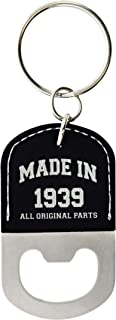 80th Birthday Gifts for Men Made 1939 80th Birthday Gift Ideas Leather Bottle Opener Keychain Key Tag Black