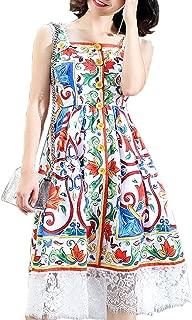 Aofur Ladies Girls Casual Floral Print Strap Dress Summer Swing Dresses Lace Loose Alin Slim Midi Dresses